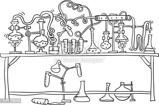 Lab Experiment In Black And White Stock Vector Art & More