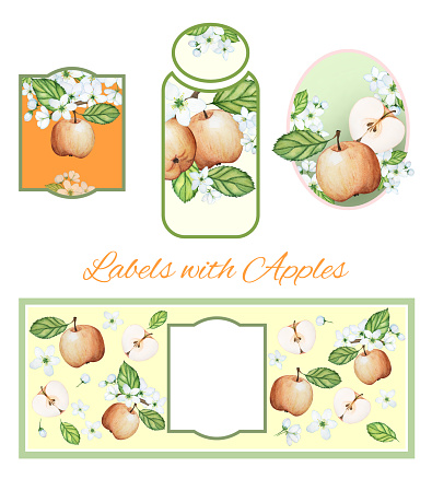 Labels, stickers, packaging design with watercolor drawings. Apples, flowers and leaves
