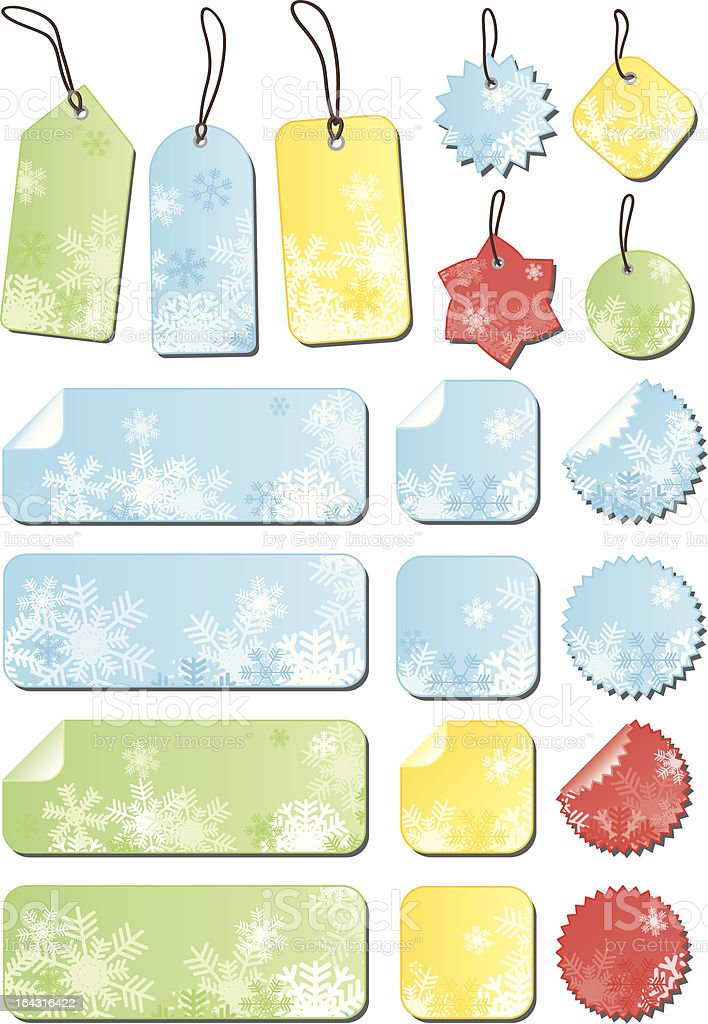Labels with snowflakes in different colors royalty-free labels with snowflakes in different colors stock vector art & more images of blue