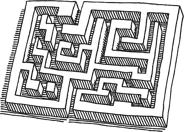 Labyrinth Drawing Hand-drawn vector drawing of a Labyrinth. Black-and-White sketch on a transparent background (.eps-file). Included files: EPS (v8) and Hi-Res JPG. game stock illustrations
