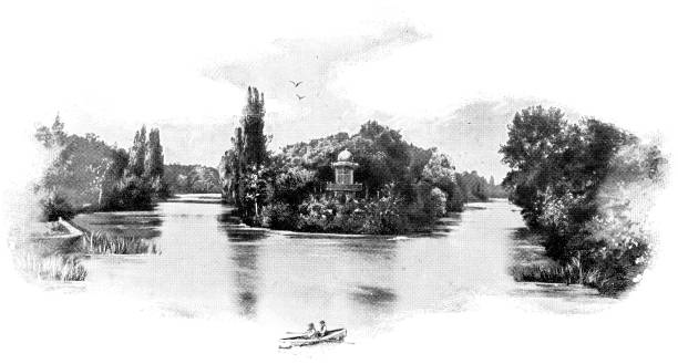 Lac Inferior at Bois de Boulogne Park in Paris, France - 19th Century Lac Inferieur (Lower Lake) at Bois de Boulogne park in Paris, France. Vintage etching circa mid 19th century. bois stock illustrations