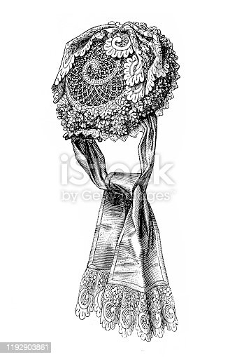 Illustration of a Lacy capote headdress