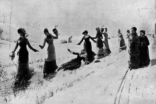 Ladies Boarding School on Ice by Hans Dahl - 19th Century