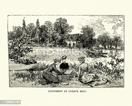 Vintage engraving of a Ladies canoe trip on the Warwickshire Avon, 1884, 19th Century. Luncheon at Cleave Mill