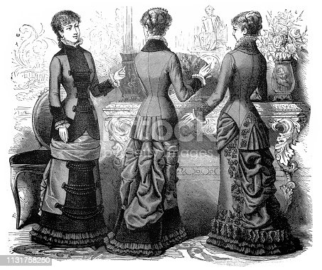 Illustration of a Ladies fashion of the 1850's and 1860's; 19th century women's clothing