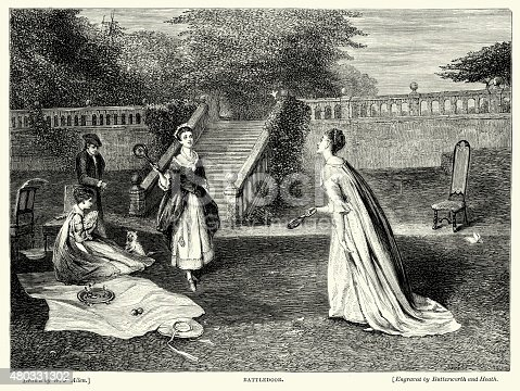 Vintage engraving of Ladies playing a game of battledore (battledoor) and shuttlecock in the garden.  Battledore and shuttlecock or jeu de volant is an early game similar to that of modern badminton.