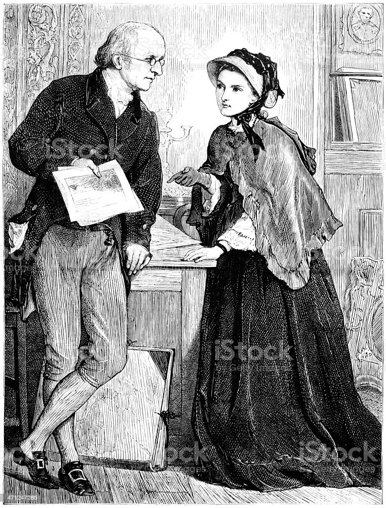 Lady and gentleman discussing art (Victorian illustration) royalty-free lady and gentleman discussing art stock vector art & more images of 1870-1879
