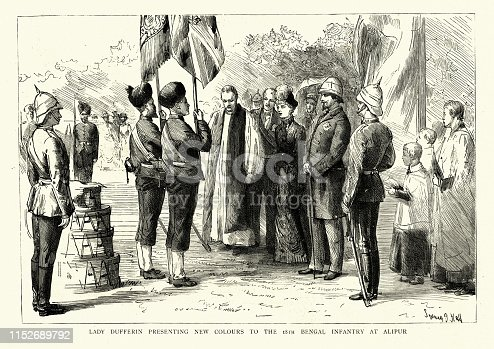 Vintage engraving of Lady Dufferin (Hariot Hamilton-Temple-Blackwood, Marchioness of Dufferin and Ava) presenting new colours to the 18th Bengal Infantry at Alipur, 1886, 19th Century