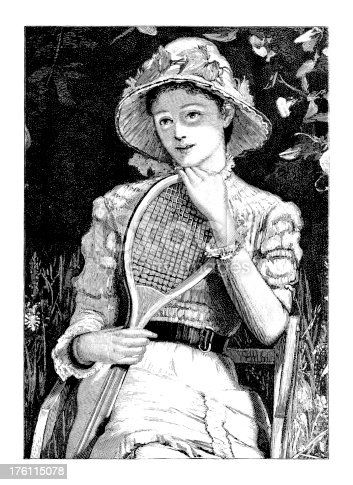 19th-century illustration of a sitting lady holding a racket (isolated on white).CLICK ON THE LINKS BELOW TO SEE SIMILAR IMAGES: