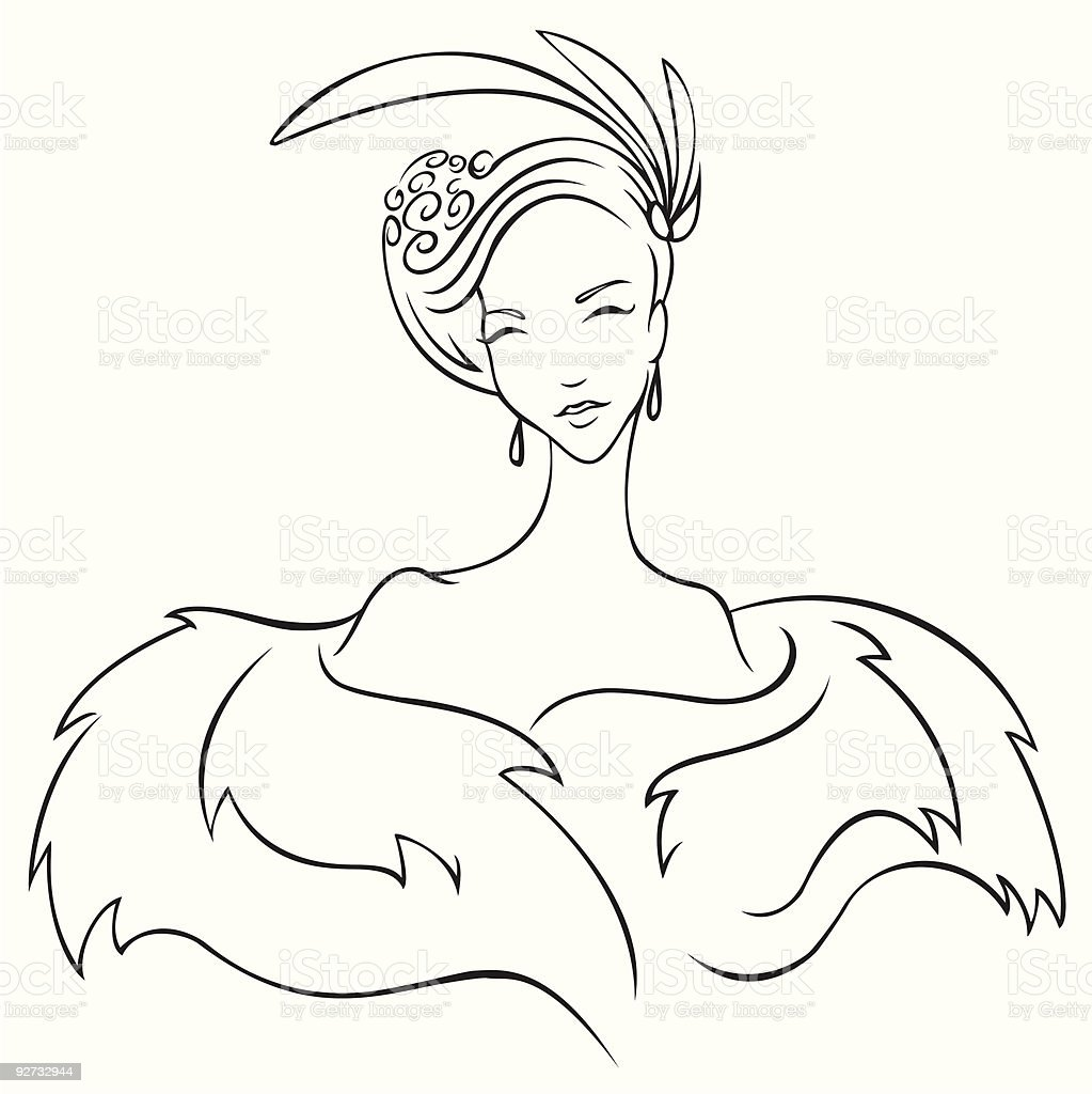 Lady In Fur royalty-free stock vector art