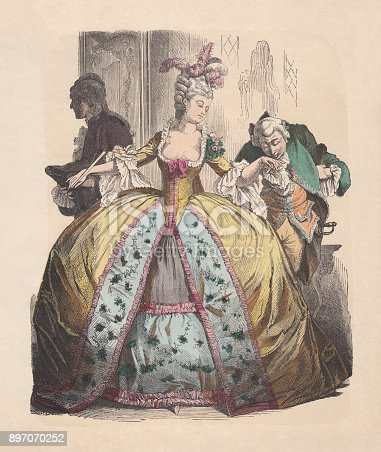 Lady in hoop skirt, Rococo era, hand-colored woodcut, published c.1880