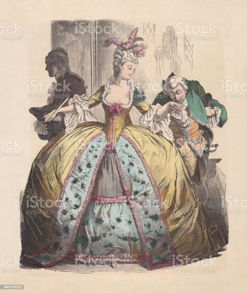 Lady in hoop skirt, Rococo era, hand-colored woodcut, published c.1880 vector art illustration