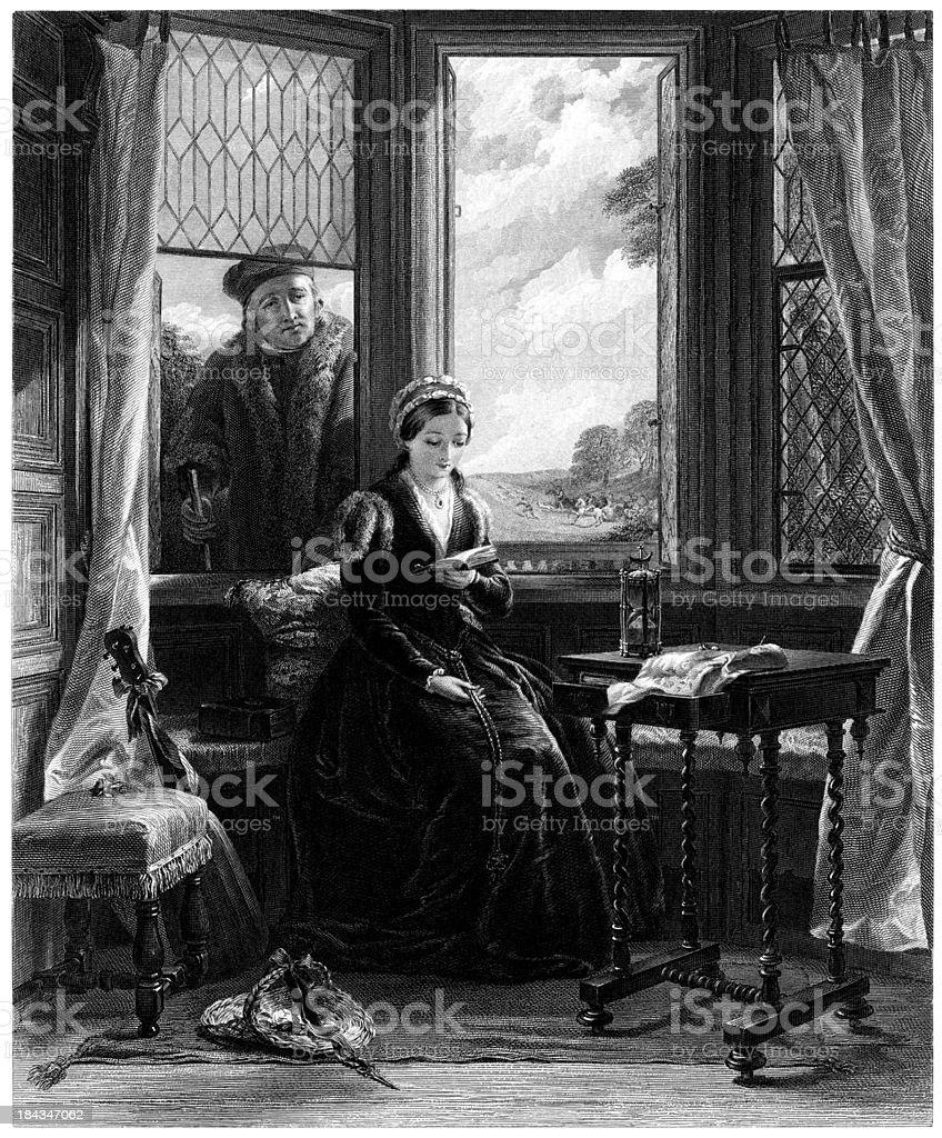 Lady Jane Grey and Roger Ascham (Engraved illustration) royalty-free stock vector art