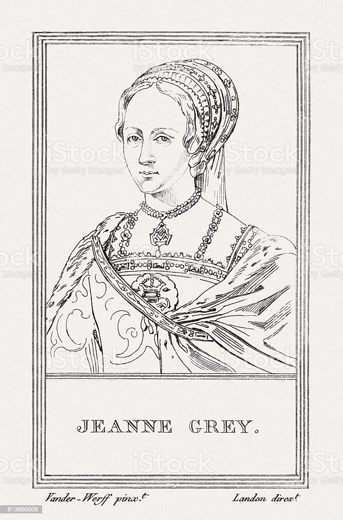 Lady Jane Grey (1536/3-1554), English noblewoman, copper engraving, published 1805 vector art illustration