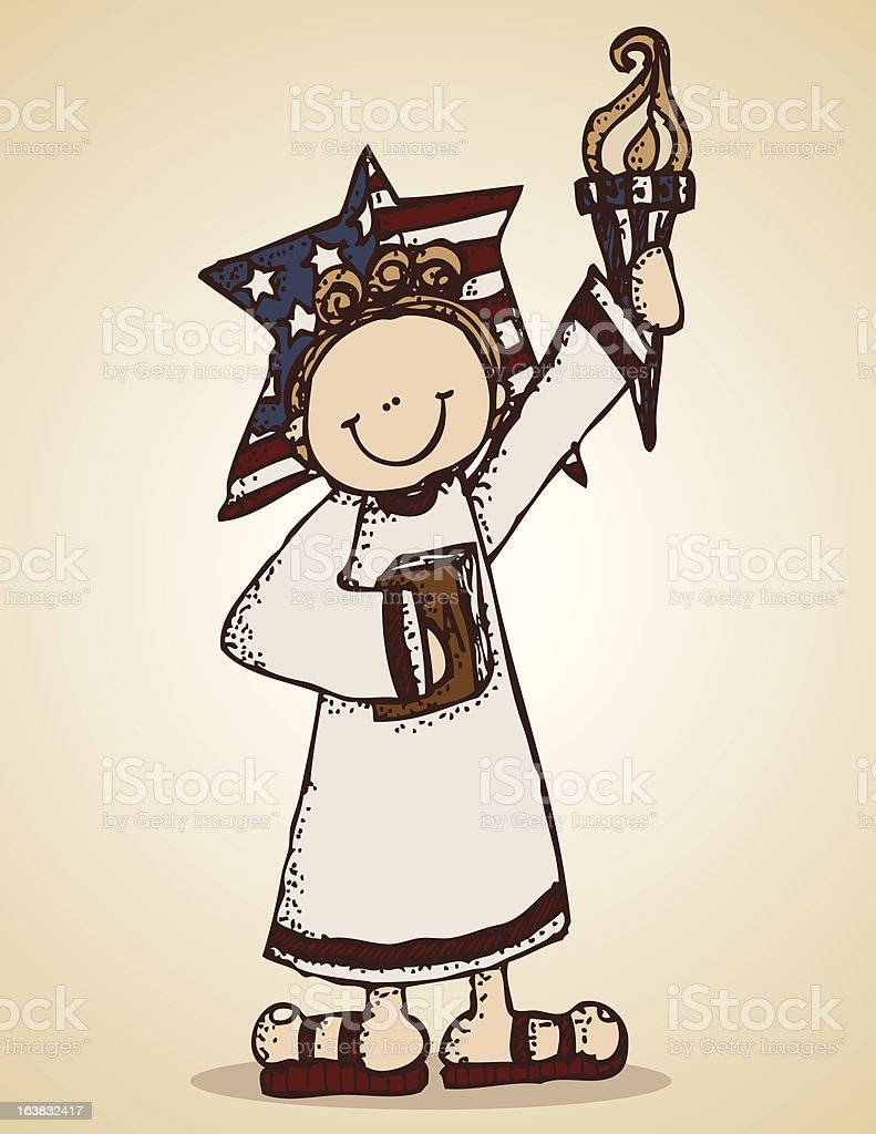 Lady Liberty holding torch and book, with star behind head royalty-free stock vector art