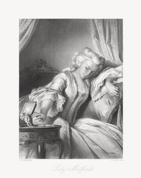 """Lady Milford, fictional character (from """"Intrigue and Love"""") by Friedrich Schiller Lady Milford - fictional character from """"Kabale und Liebe (Intrigue and Love)"""" - the third drama by the German playwright Friedrich Schiller. Premiered in Frankfurt/Main in 1784. Steel engraving after a drawing by Arthur von Ramberg (Austrian painter, 1819 - 1875), published in 1859. name of person stock illustrations"""