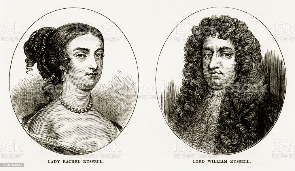 Lady Rachel Russell and Lord William Russell of Woburn, England Victorian Engraving, Circa 1840 vector art illustration