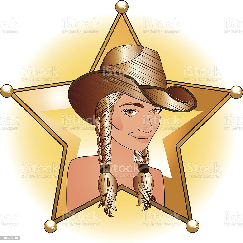 Lady Sheriff royalty-free stock vector art