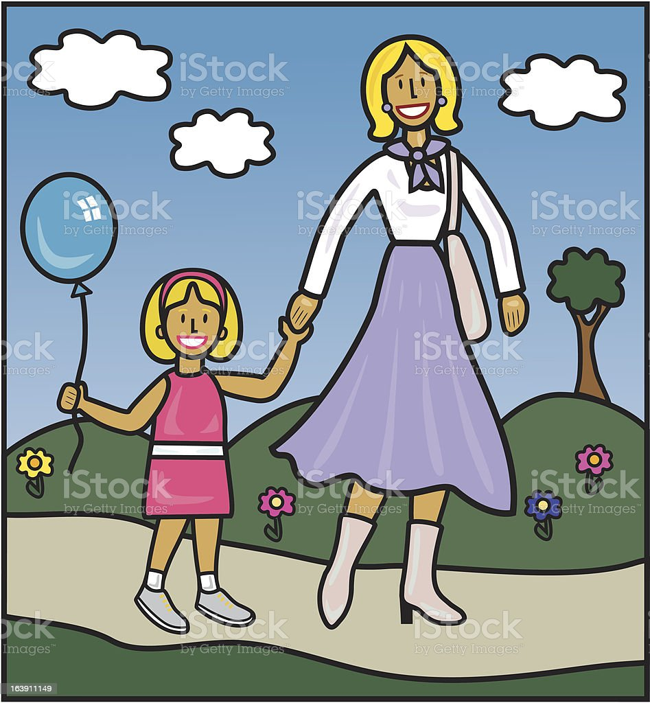 Lady walking with girl holding balloon royalty-free lady walking with girl holding balloon stock vector art & more images of 4-5 years