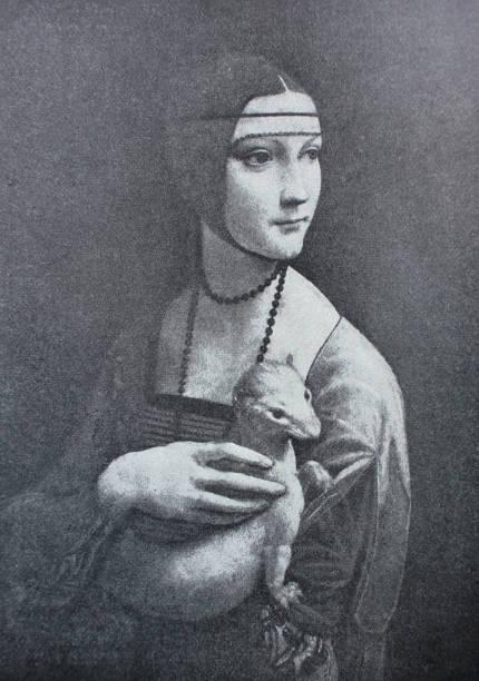 Lady with an ermine by Leonardo Da Vinci in a vintage book Lady with an ermine by Leonardo Da Vinci in a vintage book Leonard de Vinci, author A. Rosenberg, 1898, Leipzig ermine stock illustrations