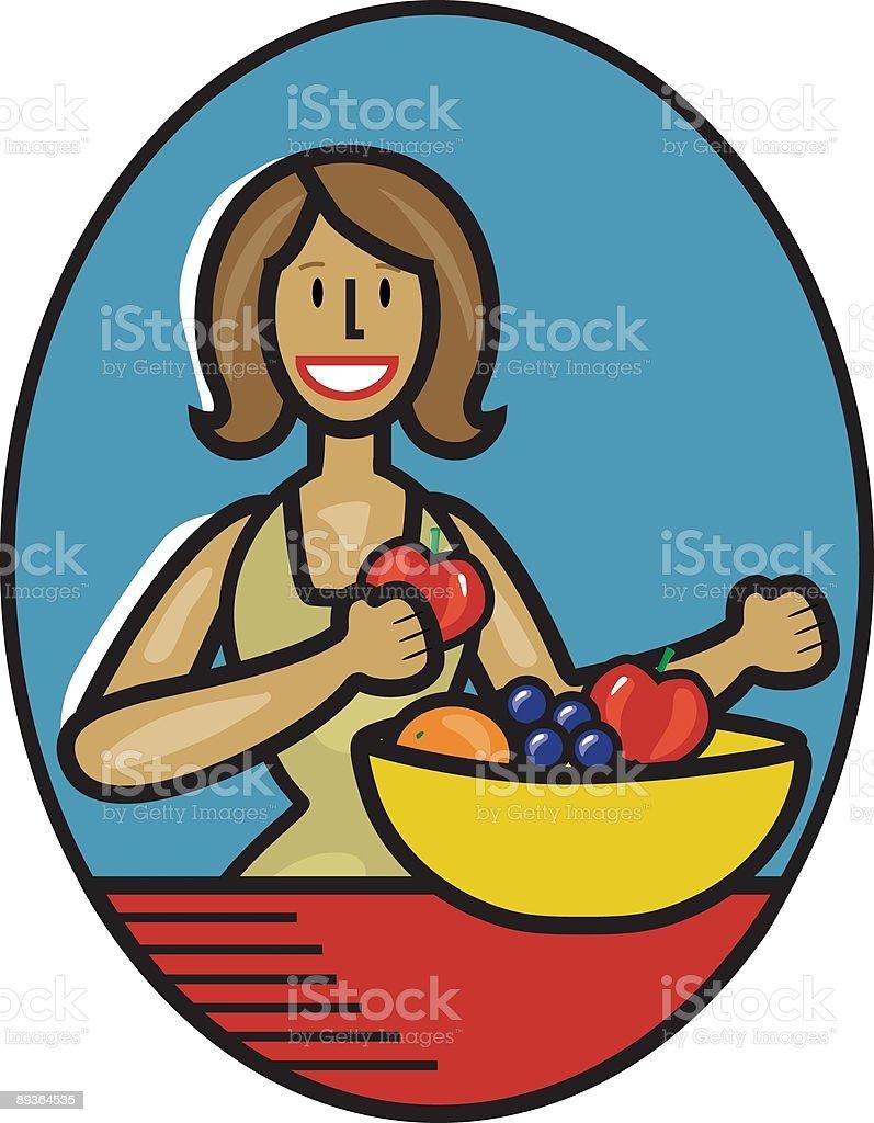 Lady con frutta lady con frutta - immagini vettoriali stock e altre immagini di adulto royalty-free
