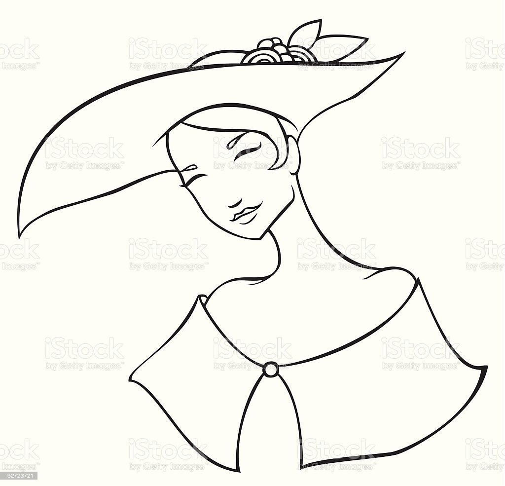 Lady With Hat vector art illustration