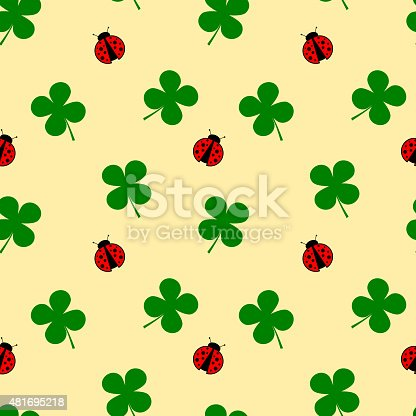 Ladybug And Four Leaf Clover Seamless Pattern Good Luck Illustration Stock Vector Art More Images Of 2015 481695218