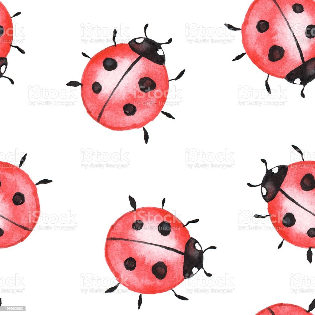 Ladybugs. Seamless pattern 1 vector art illustration