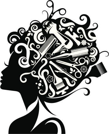 Lady's silhouette with hairdressing accessories.