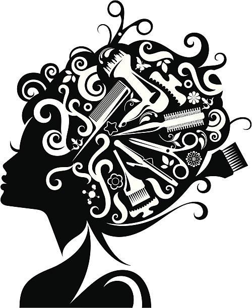 ilustrações, clipart, desenhos animados e ícones de mulher de silhueta com acessórios de beleza. - salão de beleza