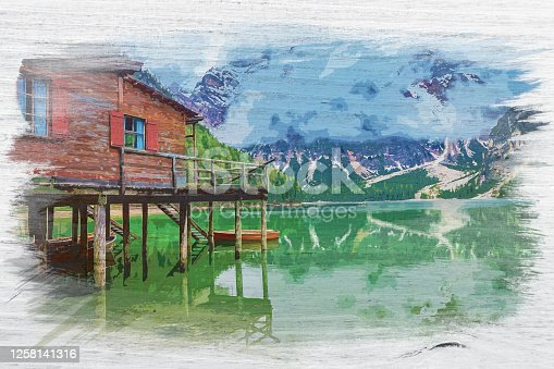 istock Lago di Braies in Dolomites, Italy, watercolor painting 1258141316
