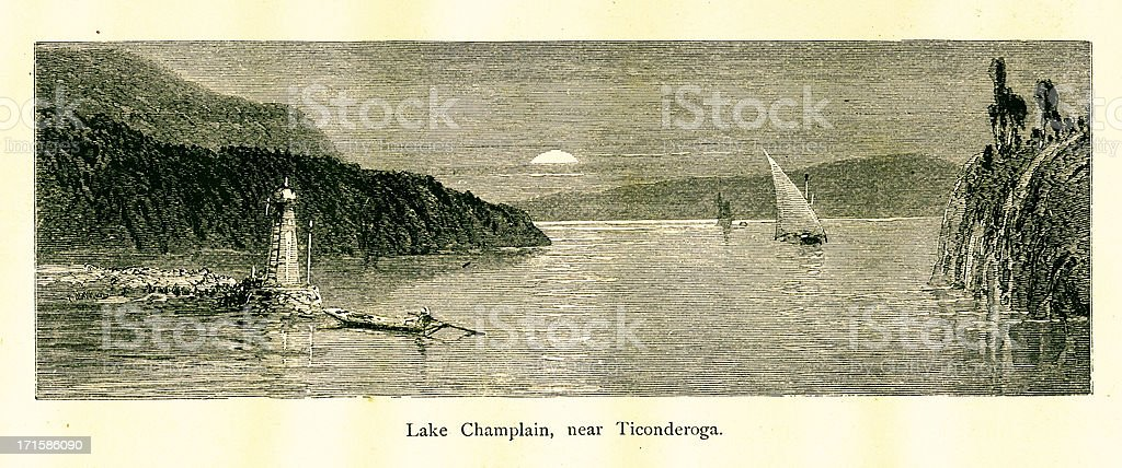 Lake Champlain near Ticonderoga, New York, wood engraving (1872) vector art illustration