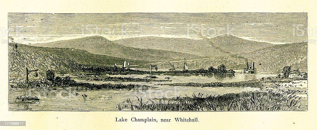 Lake Champlain near Whitehall, New York vector art illustration