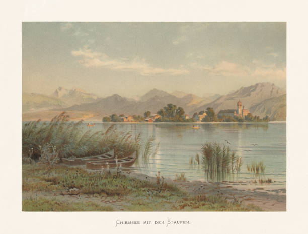 Lake Chiemsee with the Staufen, Bavaria, Germany, chromolithograph, published ca.1874 Lake Chiemsee with island Frauenchiemsee and the Benedictine abbey of Frauenwörth. In the Background the Chiemgau Alps with the Staufen massif, Upper Bavaria, Germany. Chromolithograph after a watercolor by Karl Christian Köhler (German painter, 1827 - 1890), published ca. 1874. lakeshore stock illustrations