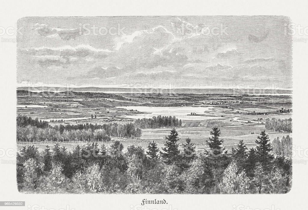 Région des lacs en Finlande, gravure sur bois, publié en 1897 - Illustration de Culture européenne libre de droits