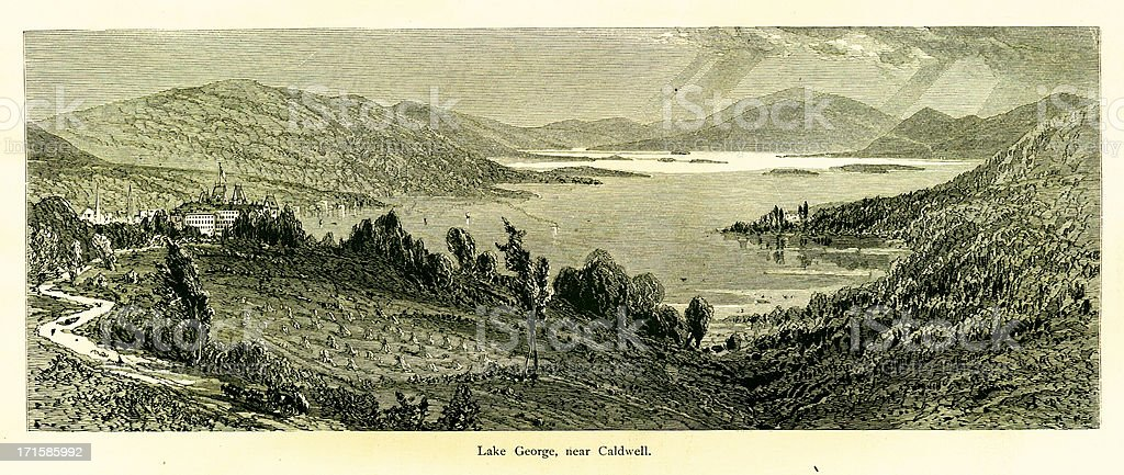 Lake George near Caldwell, New York vector art illustration