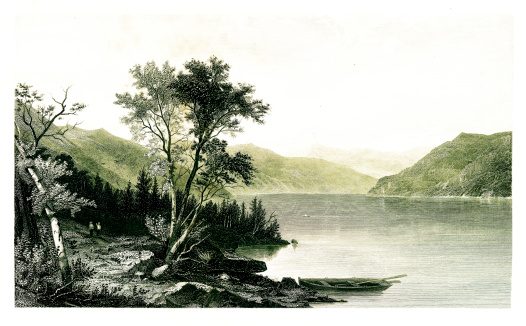 Lake George, located in the the Great Appalachian Valley, U.S. state of New York. Published in Picturesque America or the Land We Live In (D. Appleton & Co., New York, 1872)