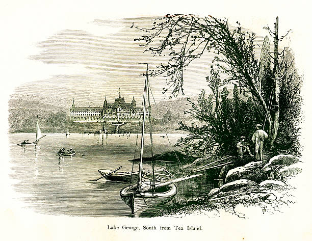 Lake George, New York State | Historic American Illustrations vector art illustration