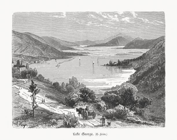 Lake George, New York State, USA, wood engraving, published in 1897 vector art illustration