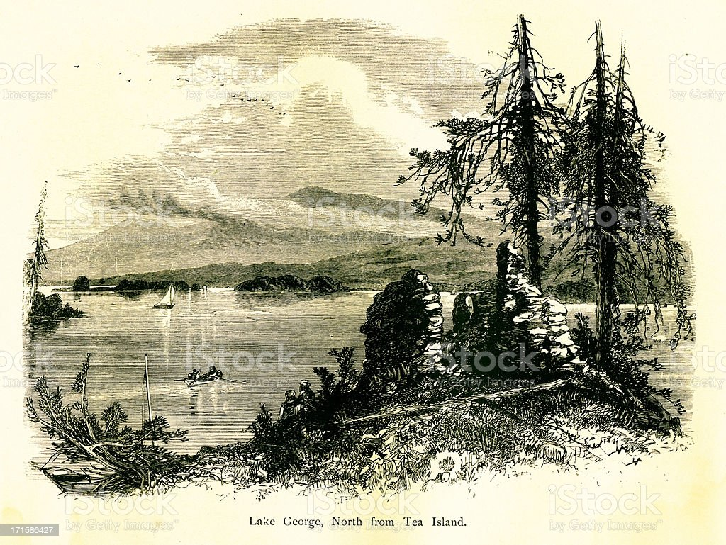 Lake George north from Tea Island, New York royalty-free lake george north from tea island new york stock vector art & more images of 19th century