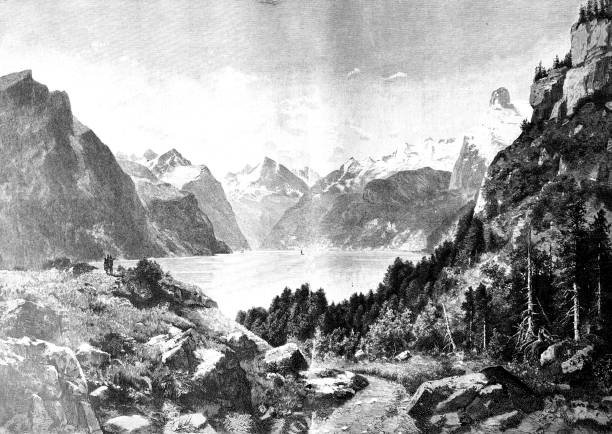 a lake in the alps: lake of uri - black and white mountain stock illustrations, clip art, cartoons, & icons