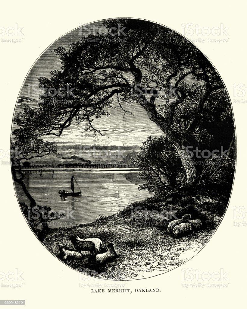 Lake Merritt, Oakland, California, 19th Century vector art illustration
