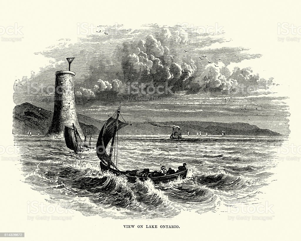 Lake Ontario, 19th Century vector art illustration
