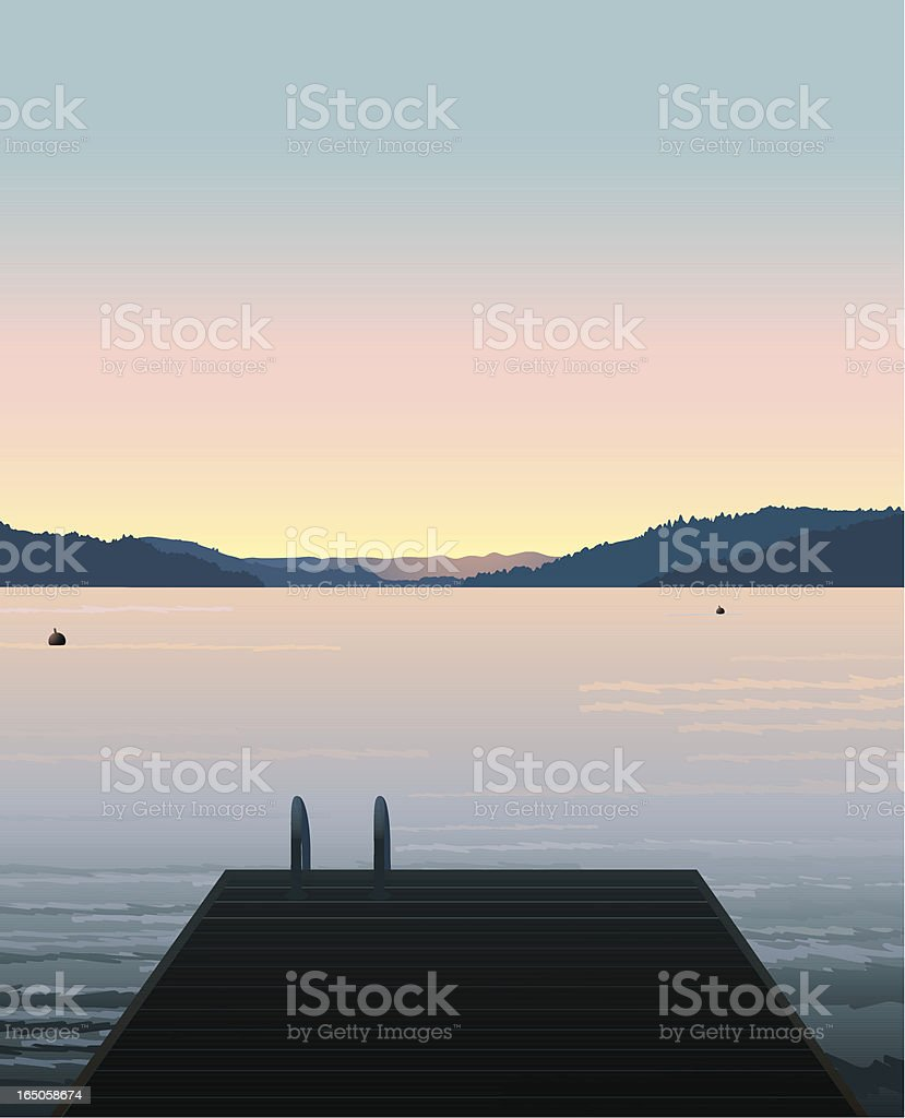 Lake Swimming vector art illustration