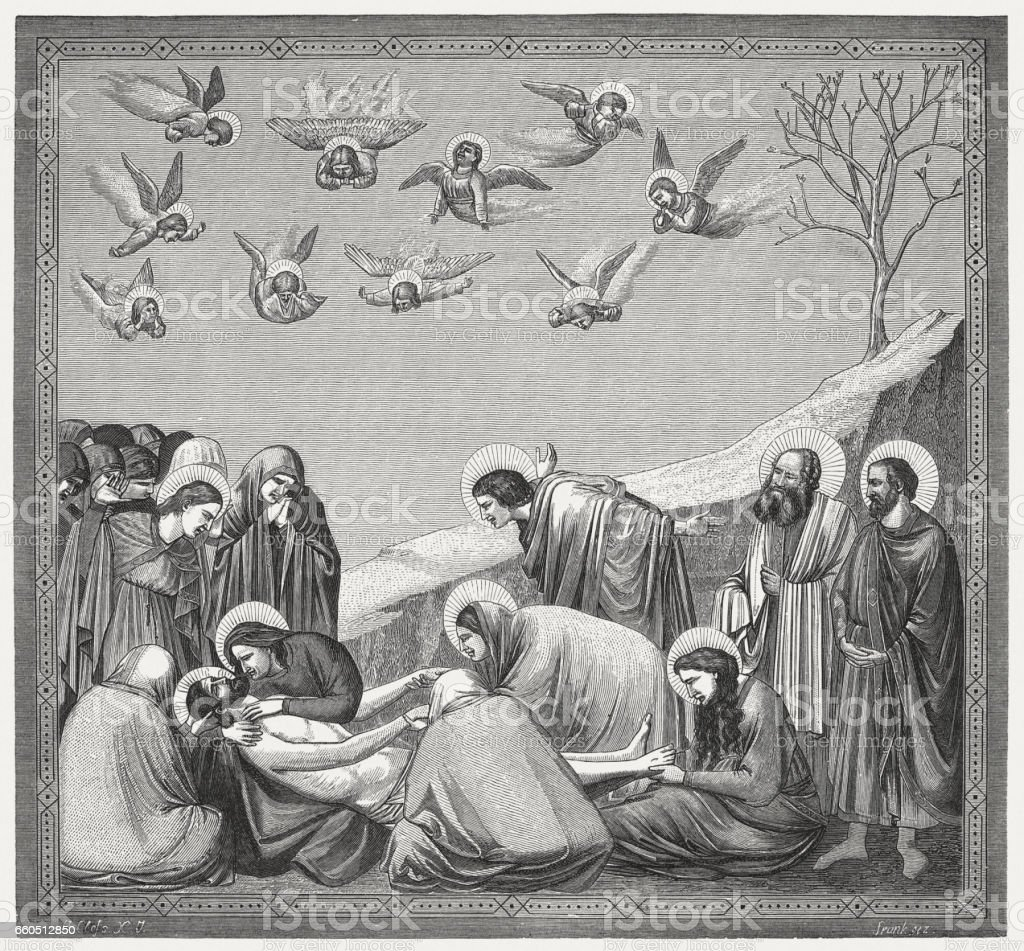 Lamentation of Christ, painted (1304-06) by Giotto, Scrovegni Chapel, Padua vector art illustration