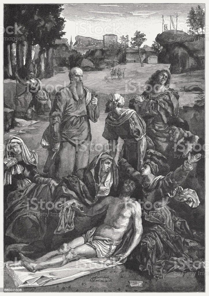Lamentation Over the Dead Christ, painted by Garofalo, published 1884 vector art illustration