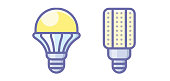 istock Lamp light bulb Icon Symbol Illustration in Flat and Modern Style available for your designs 1288008911