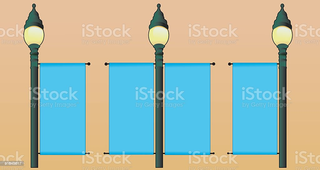 Lamp Post Banner vector art illustration