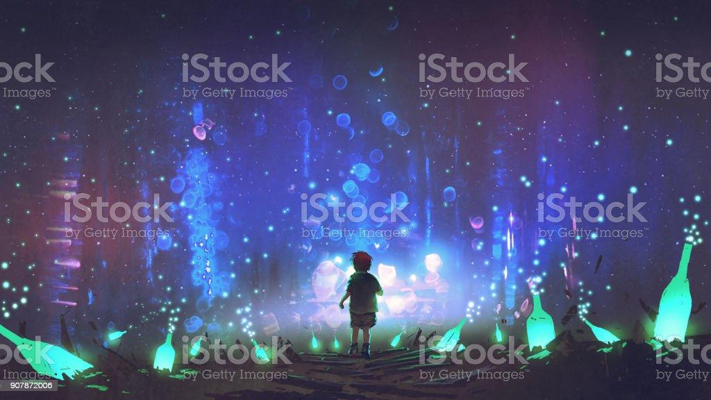 land of many glowing green bottles vector art illustration