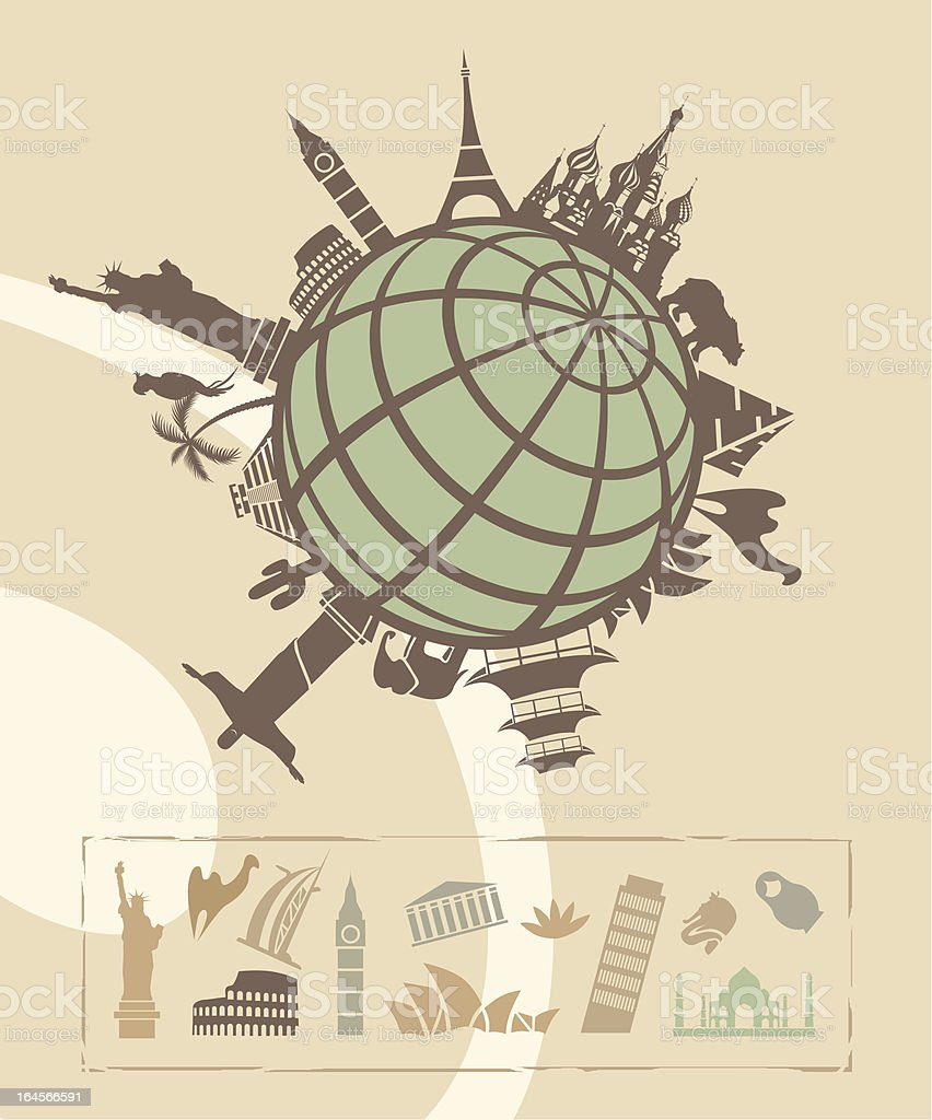 Landmarks around the World vector art illustration